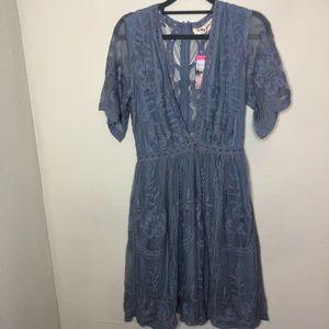 NWT Molly Green Malina Dress Lace in Dusty Blue S